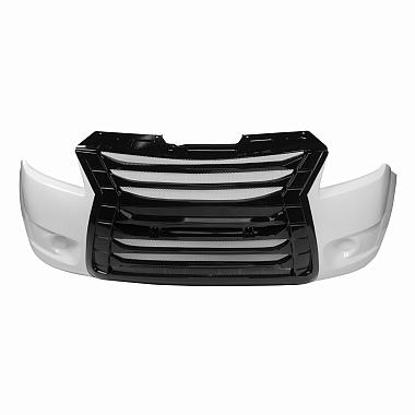 Бампер передний Некст тюнинг (белый, черная решетка)